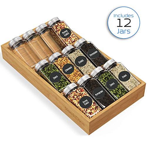 SleekDine Spice Drawer Organizer Insert - Drawer Spice Organizer With 12 Spice Jars - 3 Tier Spice Organizer For Drawer - Spice Rack For Drawers - Spice Organizer With Spice Jars