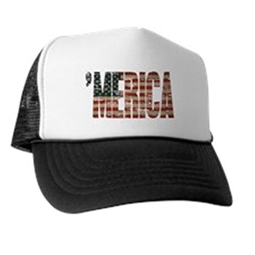 da5ea149 CafePress - Vintage Distressed Merica Flag - Trucker Hat, Classic Baseball  Hat, Unique Trucker
