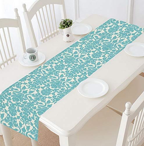 Hemau Teal Damask Floral Table Runner Linen & Cotton Cloth Placemat for Banquet Decoration 16 x 72 Inches | Model WDDNG -2037 | 16 x 72 Inches (Globe Topiary)