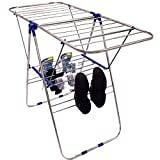 """EasyGo Lightweight Laundry Drying Rack - Economical Stainless Steel Folding Clothes Dryer with Top, Bottom Shelf & Shoe Rack - Light Duty Gullwing Style, 40"""" L x 24"""" H x 2"""" W"""