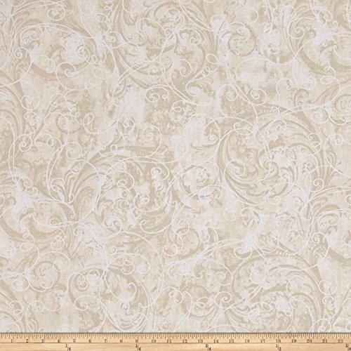Kanvas Winter Story Vine Scroll Cream Fabric By The Yard
