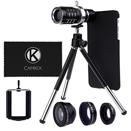 CamKx Compatible Camera Lens Kit for Apple iPhone 6 Plus / 6S Plus ONLY – 12x Telephoto Lens, Fisheye Lens, Macro Lens, Wide Angle Lens, Tripod, Phone Holder, Hard Case, Velvet Bag (Lens Kit)