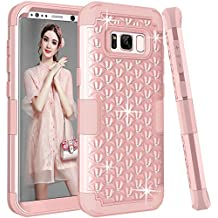 Galaxy S8 Plus Case, SOGOLA Hybrid Heavy Duty Shockproof Bling Sparkly Glitter Rhinestone Case with Dual Layer [Hard PC+ Soft Silicone] Impact Protection for Samsung Galaxy S8 Plus - (Rose Gold)