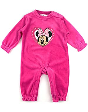 Minnie Mouse Girls Velour Sleep N Play Coverall (Baby)