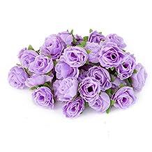 50pcs 3cm Artificial Roses Flower Heads Wedding Decor Light Purple