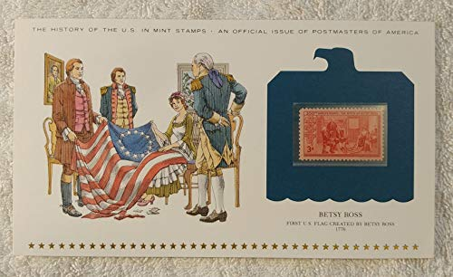 Betsy Ross - First US Flag Created by Betsy Ross - Postage Stamp (1952) & Art Panel - History of the United States: an official issue of Postmasters of America - Limited Edition, 1979 - American Flag