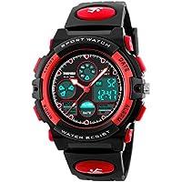Watch,Kids Watch,Digital Outdoor Waterproof Watches Analog Quartz Wristwatch with Black Strap (red)
