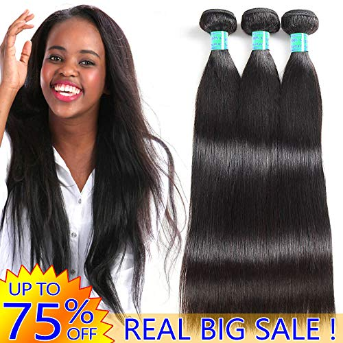 Real Brazilian Virgin Human Hair Bundles Straight Cheap 8A Peruvian Remy Hair extensions 2019 Best Indian Unprocessed Hair Weave Natural Black Color Real 100% Malaysian Hair Weft One Piece 10 Inches (Best Remy Hair Extensions 2019)