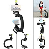 Fantaseal DC+DV+3-in-1 Camera Steadycam Mount Hand Grip C Stabilizer Bracket Low Position Shooting Rig w/3 Axis Hot Shoe Bubble Level +3 Axis Hot Shoe for Gopro/SJCAM/Garmin Virb + other cameras