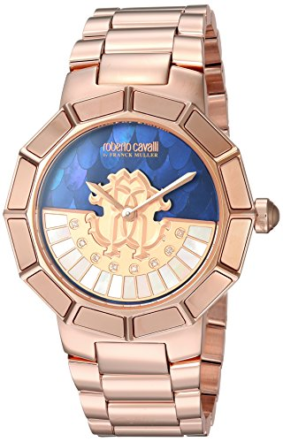 Roberto Cavalli by Franck Muller Women's Rotating DIAL Quartz Watch with Gold-Tone-Stainless-Steel Strap, Rose, 18 (Model: RV2L011M0116)