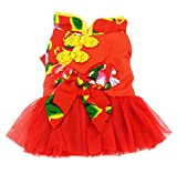 SMALLLEE_LUCKY_STORE Pet Chinese Traditional Wedding Dress, Medium