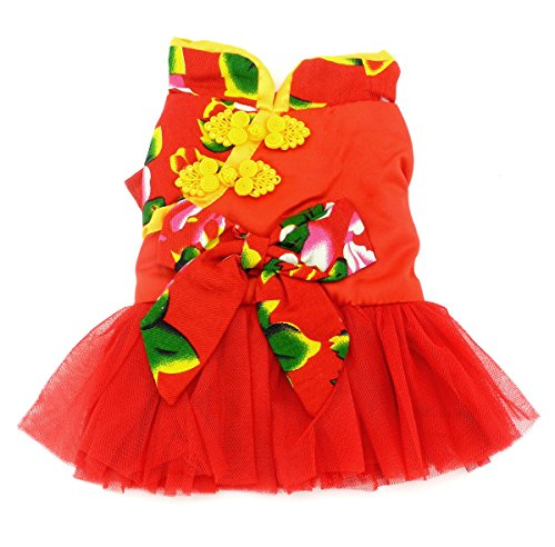 SMALLLEE_LUCKY_STORE Pet Chinese Traditional Wedding Dress, X-Small (Chinese Chinese Dresses Dress)