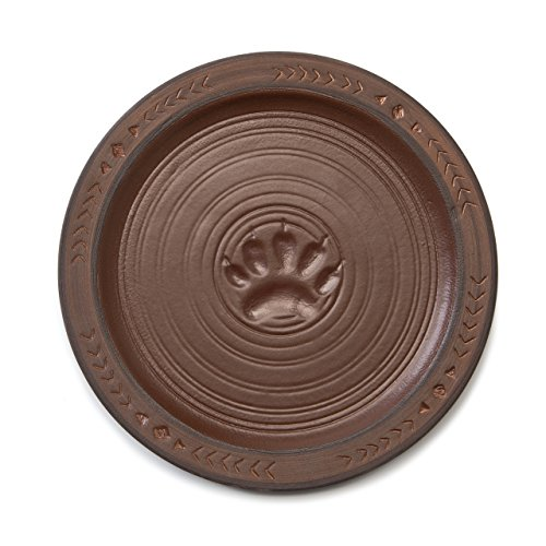Maskwa Ridge Bear Track Brown 7 x 7 Hand-Crafted Stoneware Snack Plates Set of 4