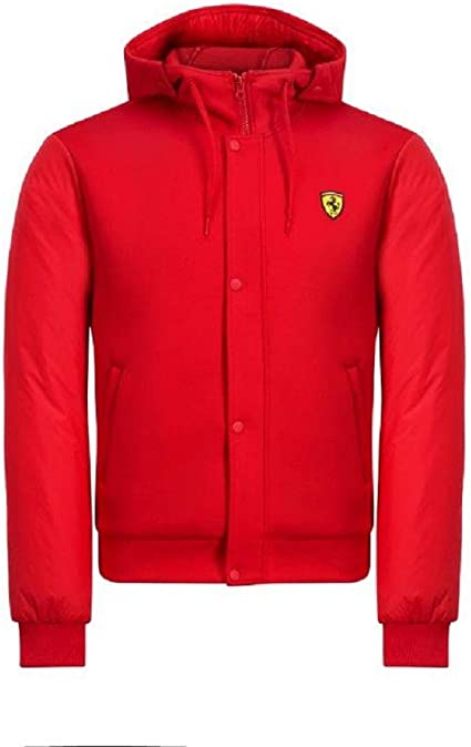 Scuderia Ferrari F1 Men/'s Hooded Bomber Jacket Red