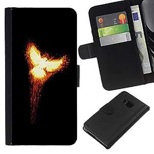 Flaming Phoenix 2 - la tarjeta de Crédito Slots PU Funda de cuero Monedero caso cubierta de piel HTC One M9