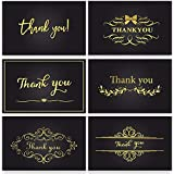 Coogam Gold Foil Thank You Cards x 18 - Greeting Cards with Envelopes and Stickers Smooth for Writing - 6 Designs Perfect for Business, Wedding, Graduation, Baby Shower, Sympathy, Thanksgiving, Gift