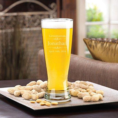 - Groomsmen 20 oz. Grand Pilsner Beer Glass - Modern