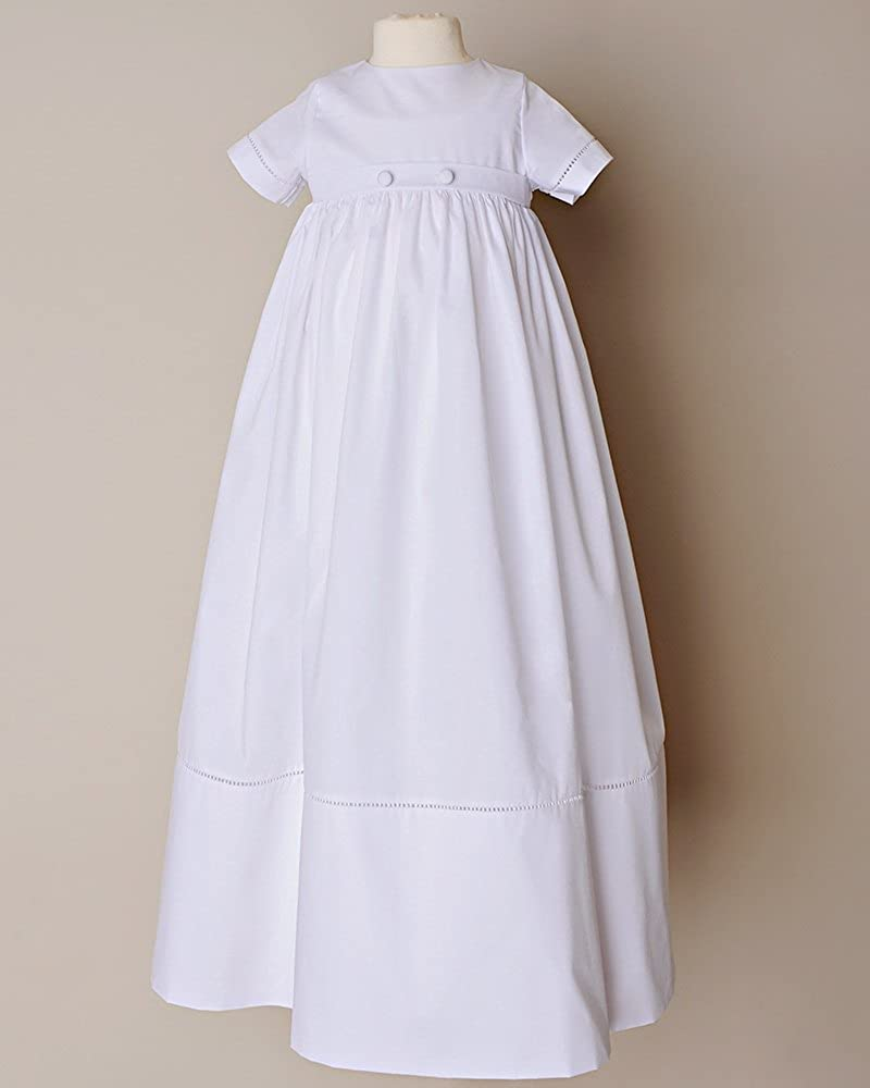 Kelaixiang Pure White Simple Christening Gown For Baby Back with Button