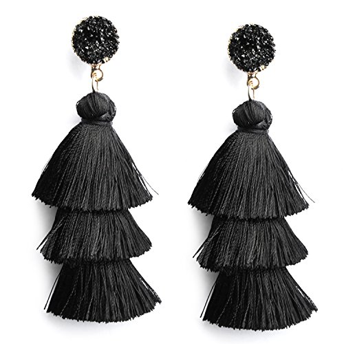 Black Layer Tassel Earrings Tiered Thread Tassel Dangle Earrings for Women Girls Bohemian Statement Tassel Earrings