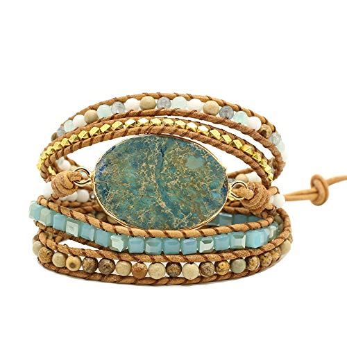 Bonnie Gold Plated Wrap Natural Stones Leather Wrap Around Stone Bracelet 5 Layer Natural Jasper Crystal Beaded Leather Bohemian Tribal Bracelet (Blue Imperial Jasper) ()