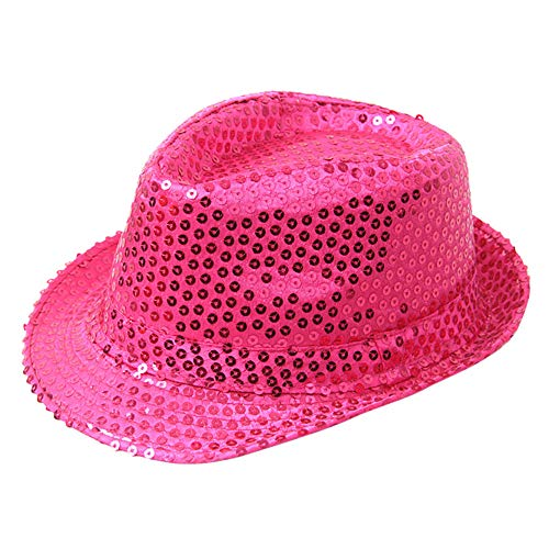 Sequined Fedoral Hat,Crytech Sparkly Glamorous Retro Diso Funky Glitter Costume Unisex Party Props Favor Novelty Accessory Dance Stage Show Performance Jazz Cap for Women Men Magician (Hot Pink)