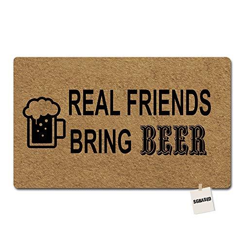 (SGBASED Door Mat Funny Doormat Real Friends Bring Beer Mat Washable Floor Entrance Outdoor & Indoor Rug Doormat Non-Woven Fabric (23.6 X 15.7 inches))