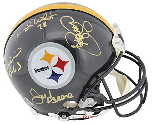 (Steel Curtain (4) Greene, White +2 Signed Authentic Proline Full Size Helmet BAS)