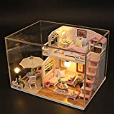 HITSAN Hoomeda M033 Pink Loft DIY House With Furniture Music Light Cover Miniature Decor Toy One Piece