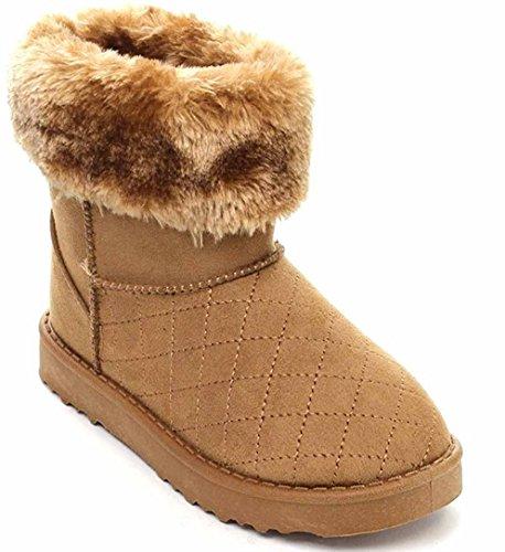 Vegan Boot Quilt Women's Shearling Flat Suede Fleece Furry Hw58Fnqxn