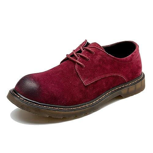 Botines de Moda para Hombre Zapatos de Trabajo con Punta Redonda de Cuero OX con Cordones Redondos.: Amazon.es: Zapatos y complementos