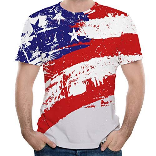 Mens New Flag Print Round Neck Short Sleeve T-Shirt Summer Fashion Slim Paint Print T-Shirt Blouse Tops (Multicolor, XXXL)