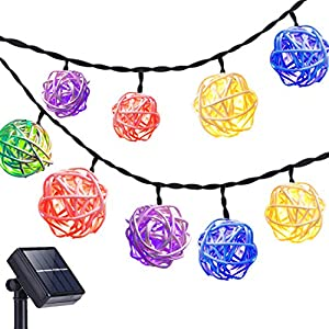 DecorNova Rattan String Lights, 19.7 Feet 30 LED Solar Fairy Ball String Lights with Waterproof Solar Panel & 2 Lighting Modes for Outdoor Garden Yard Patio Deck Christmas Party, Multi Color