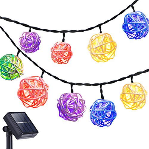 DecorNova 20 Feet 30-LED Rattan Ball Solar String Lights Outdoor,Multi Color