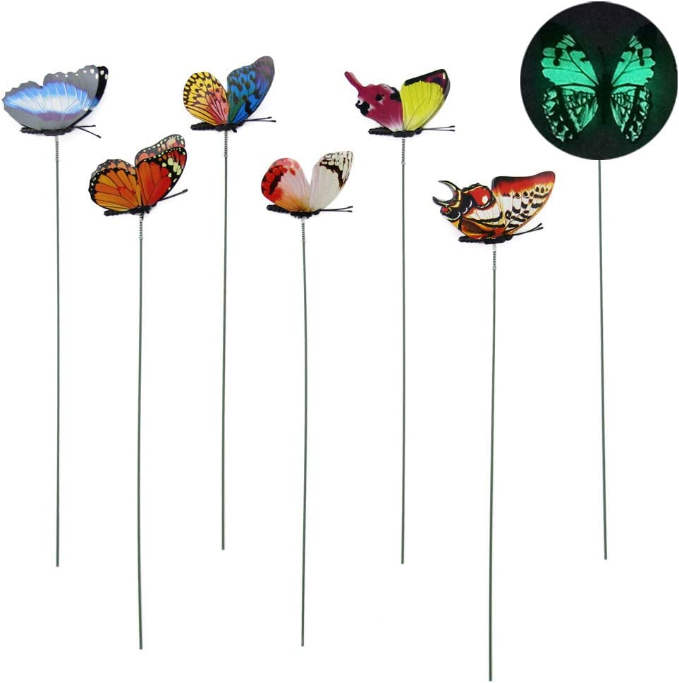 JSM 3D Garden Butterfly Stakes Glowing in Dark(12 PCS), Artificial Butterfly Stakes, Garden Ornaments & Patio Decor