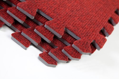 Carpet Tiles Home Office Anti-Fatigue 128sqft Red/wine by Easimat