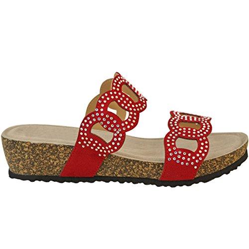 Strass Basses à Rouge Compensées Fashion Thirsty Suède Rembourrées Sandales Femme Faux qwtFYYXHx
