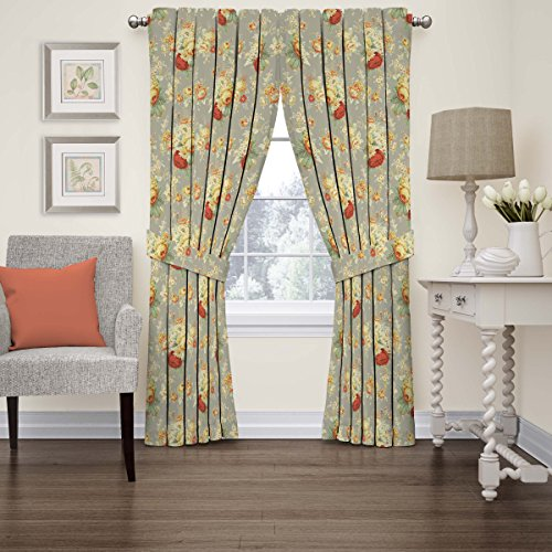"WAVERLY Curtains for Bedroom - Sanctuary Rose 52"" x 84"" Decorative Double Panel Rod Pocket Window Treatment Privacy Curtain Pair for Living Room, Clay"