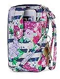 Mundi Jacqui Vegan Leather RFID Womens Crossbody Cell Phone Purse Holder Wallet (Bouquet Stripe)