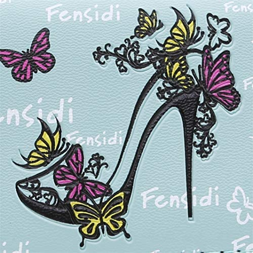 YouCY High Heel Wallet Women Butterfly High Heels Pattern Coin Purse Long Wallet High Heel Butterfly Embroidered Handbag Classic Clutch,Black