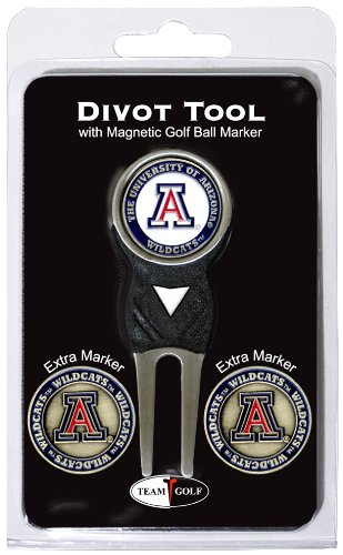 Team Golf NCAA Arizona Wildcats Divot Tool with 3 Golf Ball Markers Pack, Markers are Removable Magnetic Double-Sided Enamel