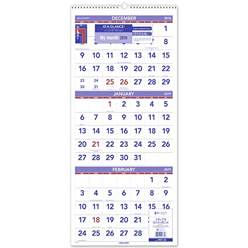 - AT-A-GLANCE 2019 Wall Calendar, 3-Month Display, 12