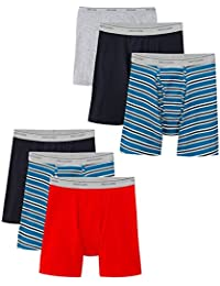 Men's Breathable Boxer Brief Multipack (6 Pack), Stripes and Solids/2X