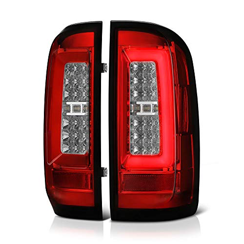 [For 2015-2019 Chevy Colorado & GMC Canyon Pickup Truck] Red Lens Premium OLED Neon Tube Full-LED Tail Light Lamp Assembly, Driver & Passenger Side