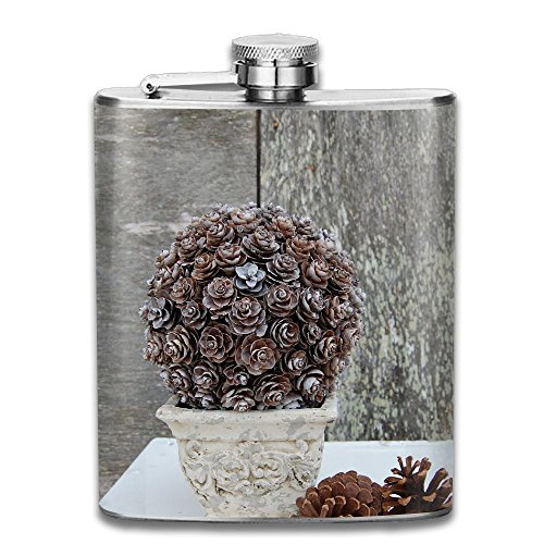 (BINGZHAO Pinecone Topiary Pocket Hip Flask 7 Oz Stainless Steel Hip Flask)