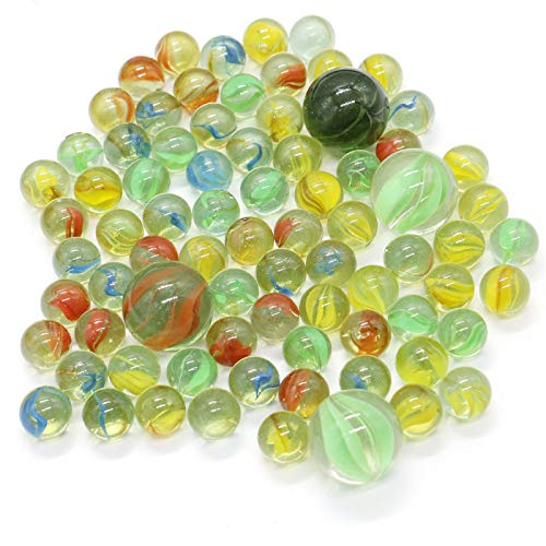 AQUEENLY 80 PCS Bulk Marbles, Glass Game Marbles Set, Assorted Colors for $<!--$8.89-->