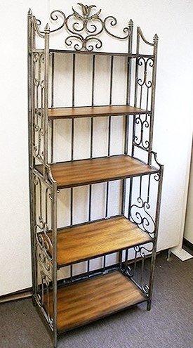 アイアン 木目 木製台 5段 シェルフ アイアン 飾り台 折り畳み式 B00L6VNWFC