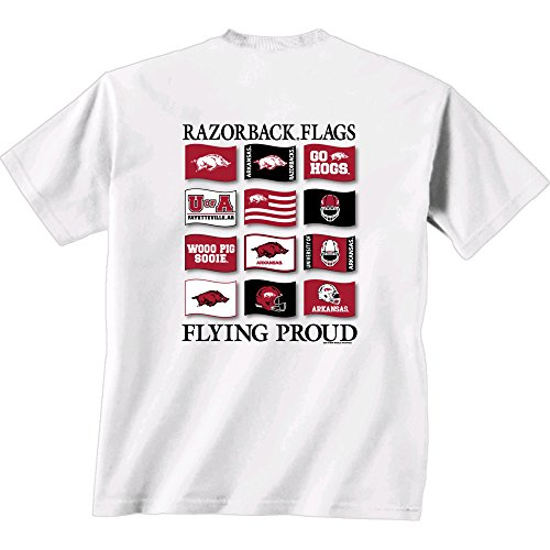 New World Graphics NCAA Arkansas Razorbacks Flying Proud Short Sleeve T-Shirt, Large, White (Razorback Bowl Shirt)