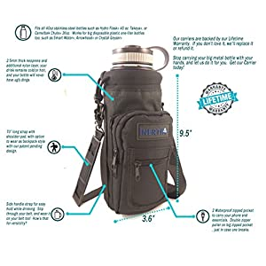 Inertia Gear Water Bottle Holder for Hydro Flask 40 oz Carrier w/ Pockets worn as a Sling or Backpack for (Bottle Not Included) - Black