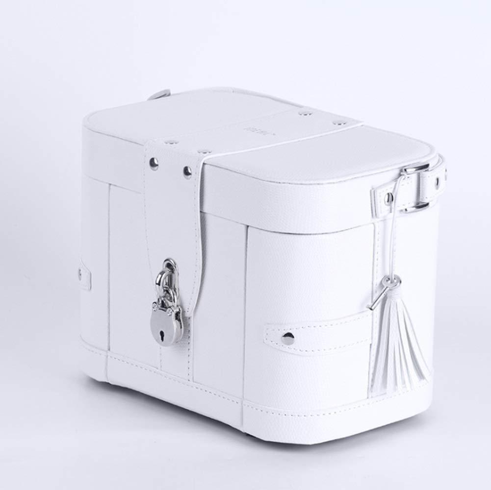 CAFUTY ロックリング収納ボックスジュエリーボックス、ホワイトと大容量の革のネックレス (Color : ホワイト) B07N3KSHHK ホワイト