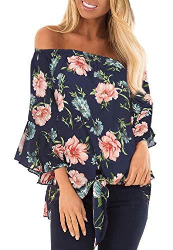 Jescakoo Women Off Shoulder Tops Chiffon Flower Print Shirts Peony Navy Blue M